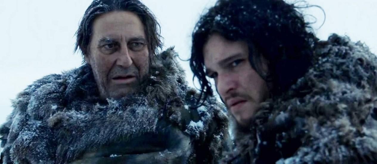 Os personagens Mance Rayder e Jon Snow em 'Game of thrones' Foto: Reprodução