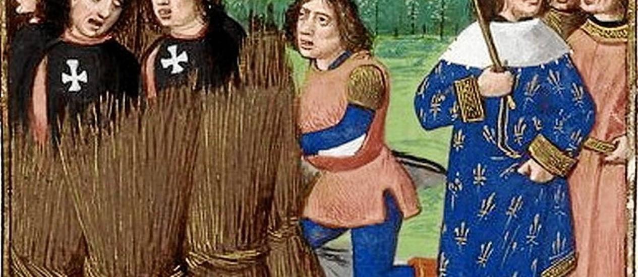 Cavaleiros hospitalários são queimados são queimados vivos na fogueira na presença do rei francês Filipe IV, O Belo, em quadro de Boccaccio Foto: Reprodução