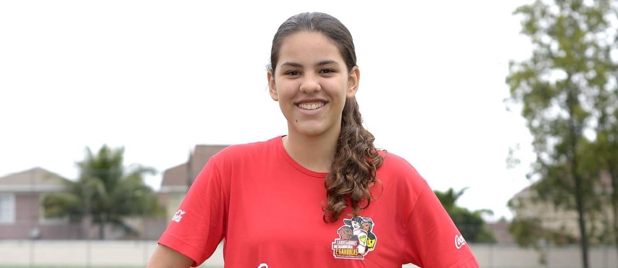 A gandula Samara Lino: primeiro Mundial, aos 15 anos Foto: Divulgação