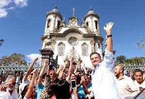 Aécio Neves em Minas Gerais: senador oficializa neste sábado sua candidatura à Presidência Foto: George Gianni / Divulgação