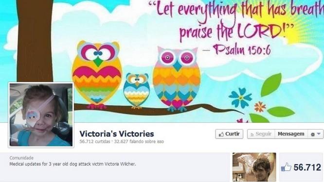 Página em apoio à menina no Facebook já tem mais de 56 mil seguidores Foto: Reprodução de Facebook
