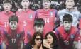 Torcedoras sul-coreanas entre as selfies e a imagem dos jogadores de sua seleção: equipe busca confiança