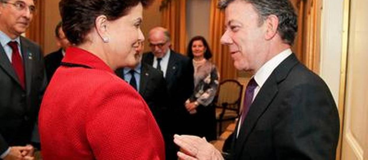 Presidente Dilma Rousseff durante encontro bilateral com o colombiano Juan Manuel Santos em Nova York, em 2011 Foto: Roberto Stuckert Filho/PR
