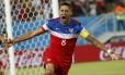 Dempsey comemora o gol mais rápido da atual edição da Copa do Mundo