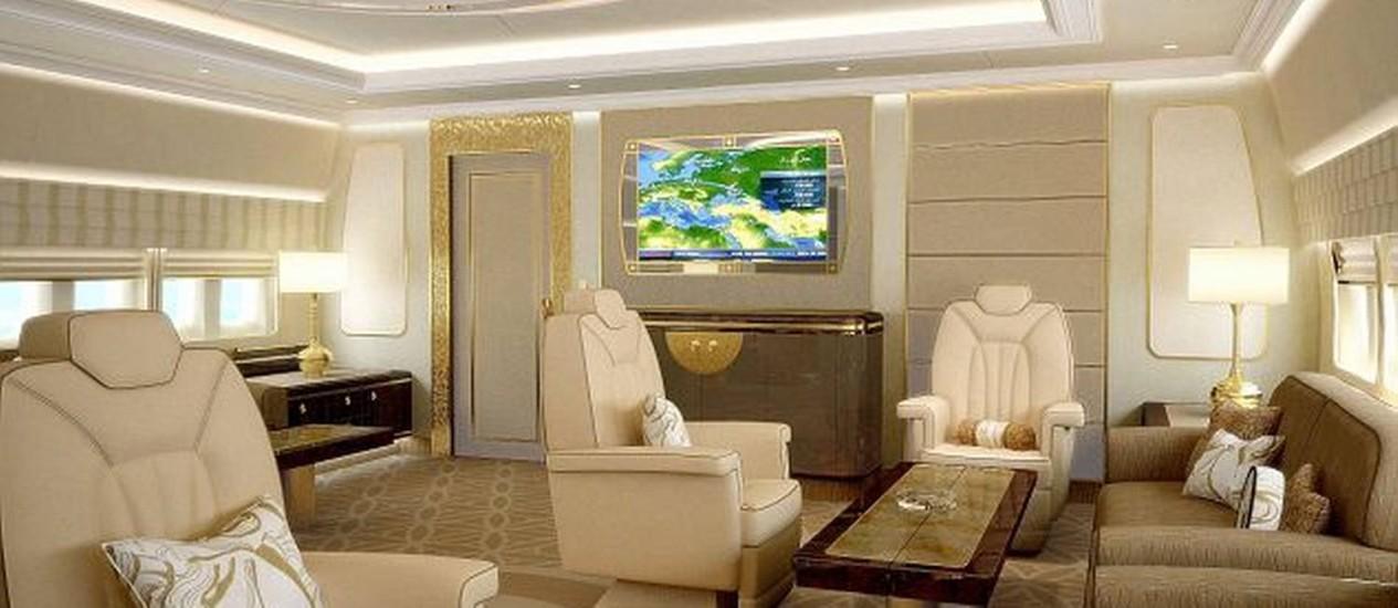 Sala de estar de um Boeing 747 customizado Foto: Divulgação/Boeing