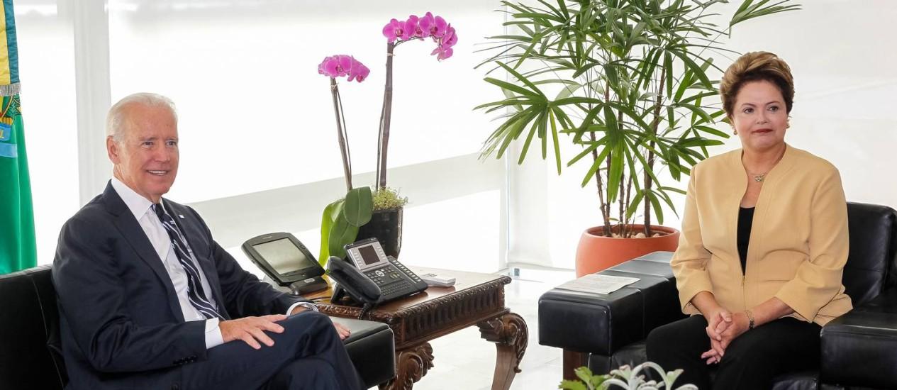Dilma recebe Joe Biden, vice-presidente dos Estados Unidos no Palácio do Planalto Foto: Divulgação