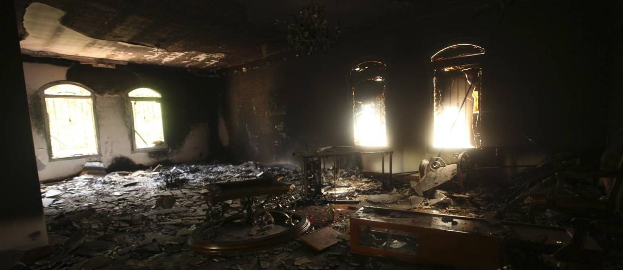 Consulado americano em Benghazi ficou devastado após ataque terrorista em 2012 Foto: ESAM OMRAN AL-FETORI / REUTERS