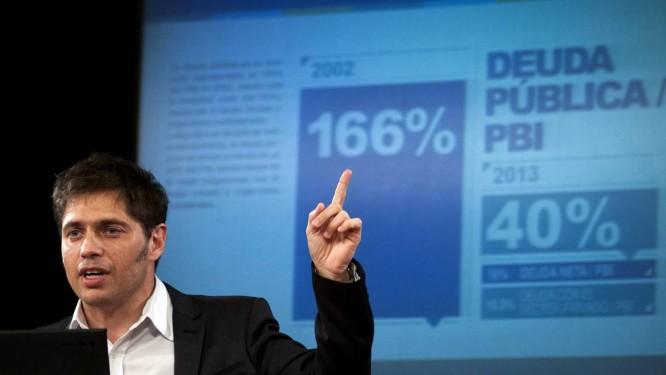 Axel Kicillof, ministro da Economia, fala a jornalistas em Buenos Aires Foto: DANIEL VIDES/AFP