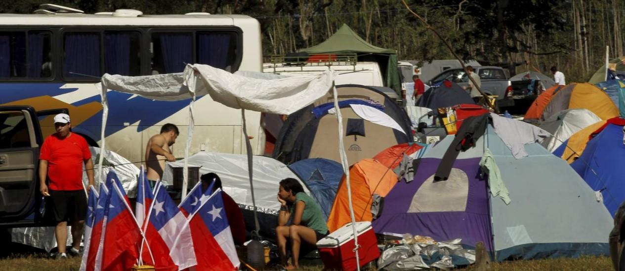 Pagando uma média, cada um, de R$ 140 por dia, chilenos ficam na Fazenda Fiorella Foto: Gabriel de Paiva / Agência O Globo