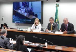 Reunião do Conselho de Ética da Câmara dos Deputados, com o relator Julio Delgado (PSB-MG) e Ricardo Izar Júnior (PSD-SP) Foto: Ailton de Freitas / O Globo