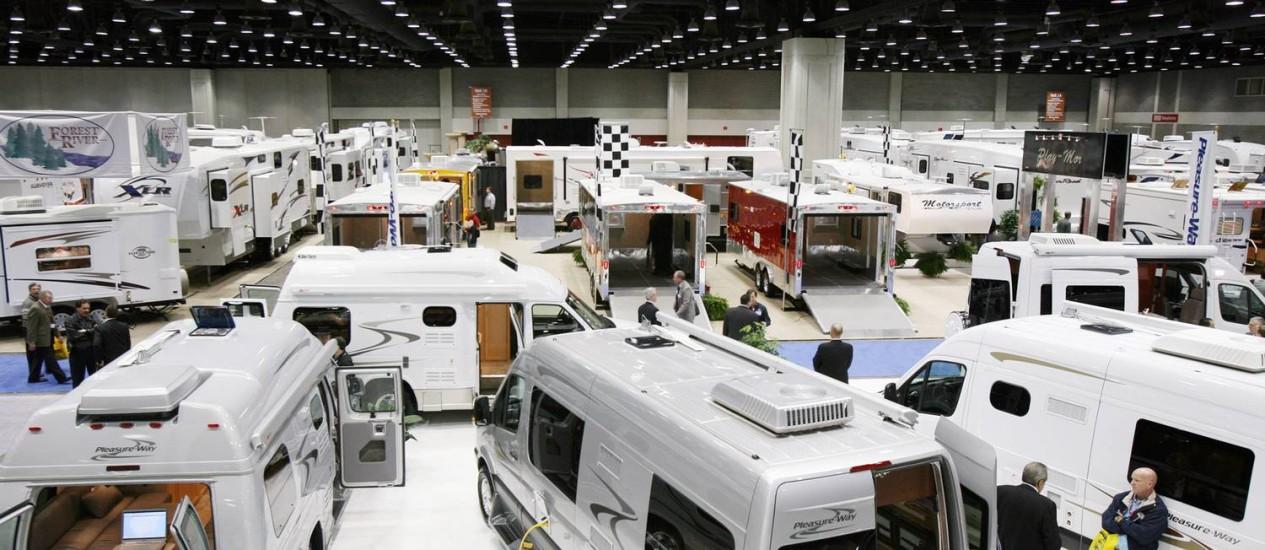 Trailers expostos durante a convenção da Associação do Setor de Trailers dos EUA: Vendas no setor cresceram nos últimos quatro anos Foto: GEOFF OLIVER BUGBEE / NYT/30-11-2007