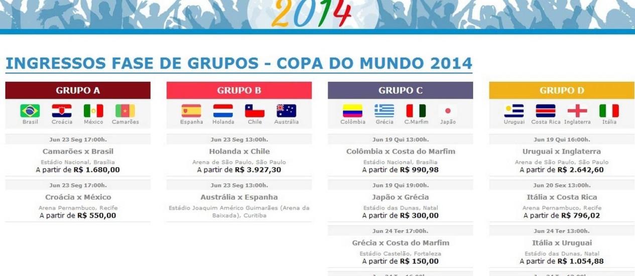 Site vende ingressos para os jogos da Copa Foto: Reprodução internet