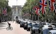 The Mall, em Londres, por onde passam os cortejos da realeza, está incluído no circuito ciclístico do Hyde Park