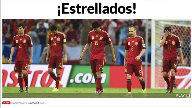 Manchete do 'Marca' destaca derrota para o Chile Foto: Reprodução / Internet