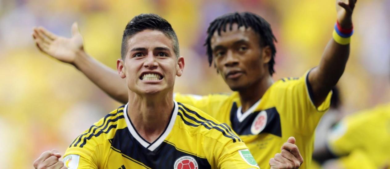 James Rodriguez e Cuadrado foram os destaques da vitória colombiana Foto: Fernando Llano / AP