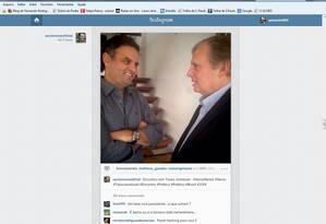 Foto do encontro entre Aécio e Tasso divulgada pelo presidenciável em uma rede social Foto: Reprodução de internet