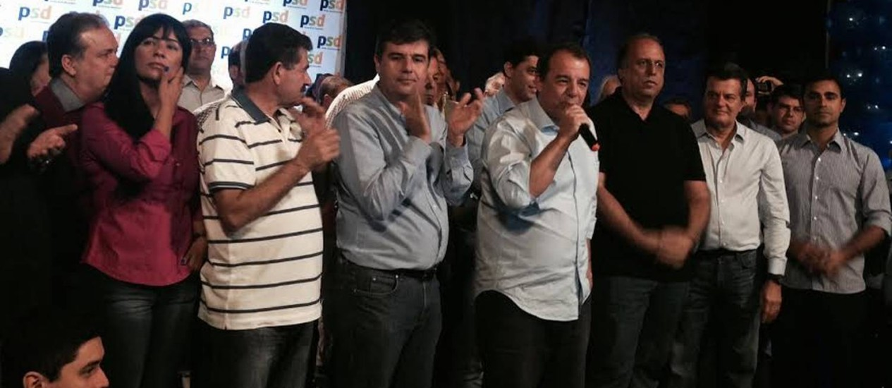 Cabral discursou como candidato ao Senado na convenção do PSD fluminense, ao lado de Paes e Pezão Foto: Leticia Fernandes