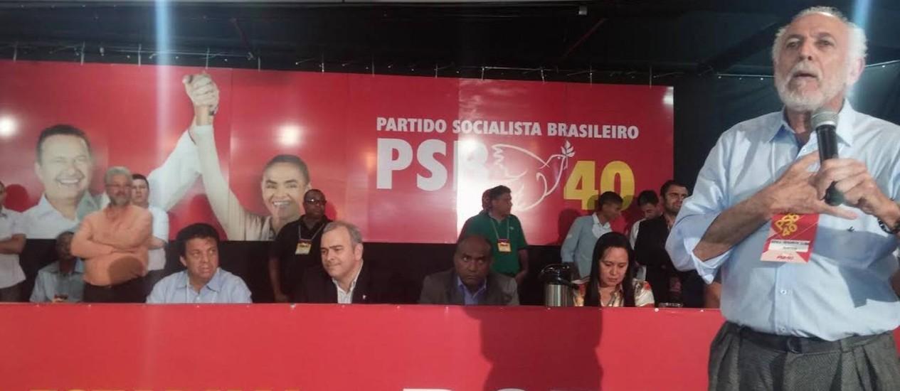 O ambientalista Apolo Heringer (em pé) criticou duramente o presidente da legenda no estado Foto: Ezequiel Fagundes