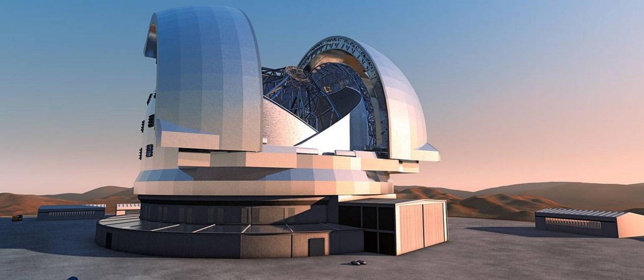 Ilustração de como deve ser o telescópio quando estiver pronto no meio do deserto do Atacama Foto: Divulgação - ESO
