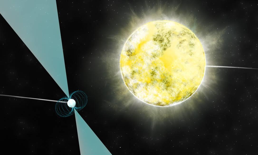 Ilustração mostra o sistema binário composto pelo pulsar e a estrela que os astrônomos acreditam ser como um gigantesco diamante Foto: B. Saxton/NRAO/AUI/NSF
