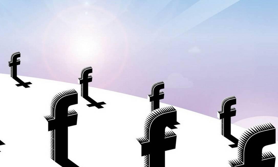 Durante os oito anos de vida do Facebook, quase 30 milhões de seus usuários morreram Foto: Ilustração O GLOBO