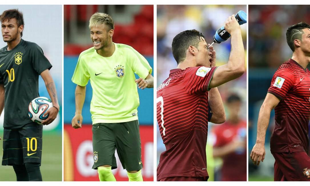 Neymar e Cristiano Ronaldo: novo visual em plena Copa Foto: Montagem