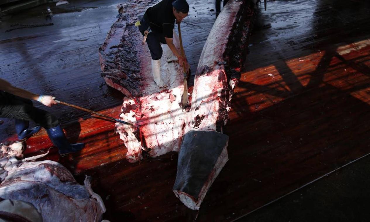 Crianças puderam obeservar como a carne do animal é tratada, após a captura Foto: ISSEI KATO / REUTERS