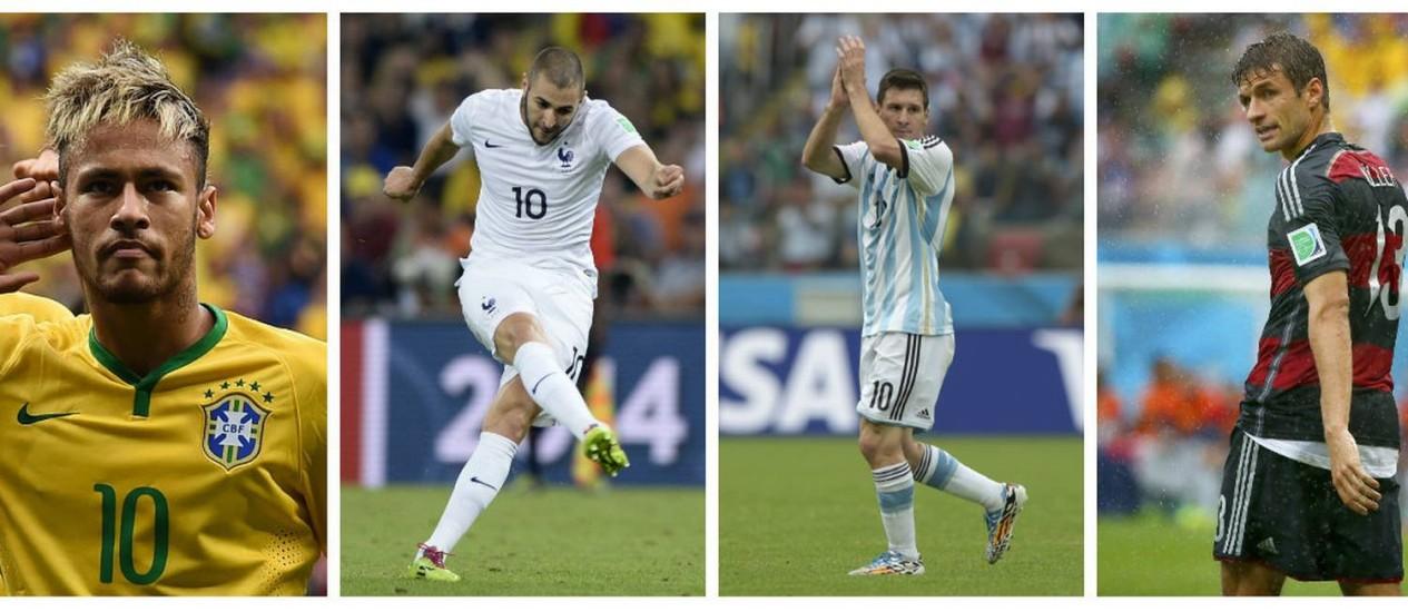 Neymar, Benzema, Messi e Müller: craques que estarão nas oitavas de final Foto: AFP e Reuters