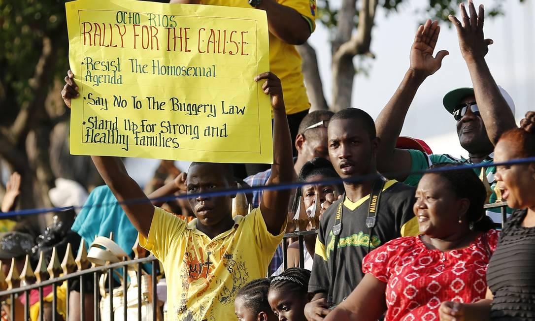 Manifestantes criticaram reforma na legislação em prol dos homossexuais Foto: Gilbert Bellamy / Reuters
