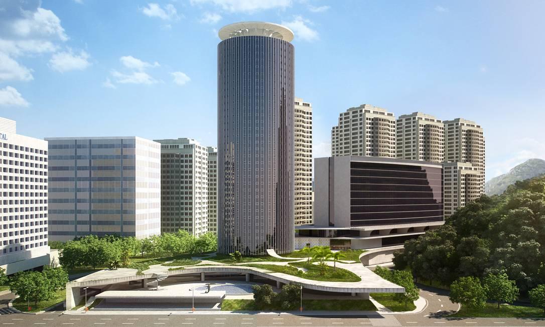 Projeto de reforma do Hotel Nacional, assinado por João Niemeyer prevê uma nova torre Divulgação/João Niemeyer / .