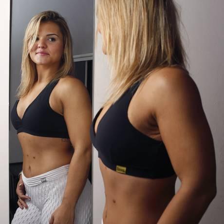 Luanna Menezes perdeu quase 70kg após a cirurgia bariátrica e, hoje, com percentual mínimo de gordura corporal, pesa 66kg Foto: Daniela Dacorso / Agência O Globo
