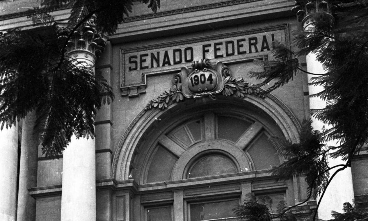 A entrada do Palácio Monroe em detalhe Foto: Arquivo / Agência O Globo
