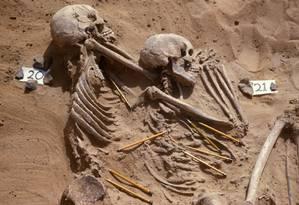 Maneira como corpos foram dispostos mostra preocupação com o sepultamento Foto: Divulgação