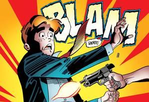 Reprodução do momento em que Archie é atingido pelo misterioso assassino Foto: Archie Comics / AP