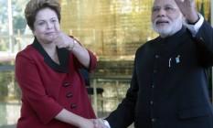 Presidente Dilma Rousseff tomou o café da manhã com o primeiro-ministro da Índia, Narendra Modi Foto: Jorge William / Agência O Globo