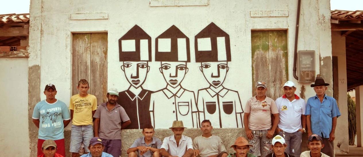Um dos trabalhos feitos pelo artista em Riacho do Meio, no sertão do Ceará, após 12 dias de residência na comunidade Foto: Divulgação/Pablo Saborido
