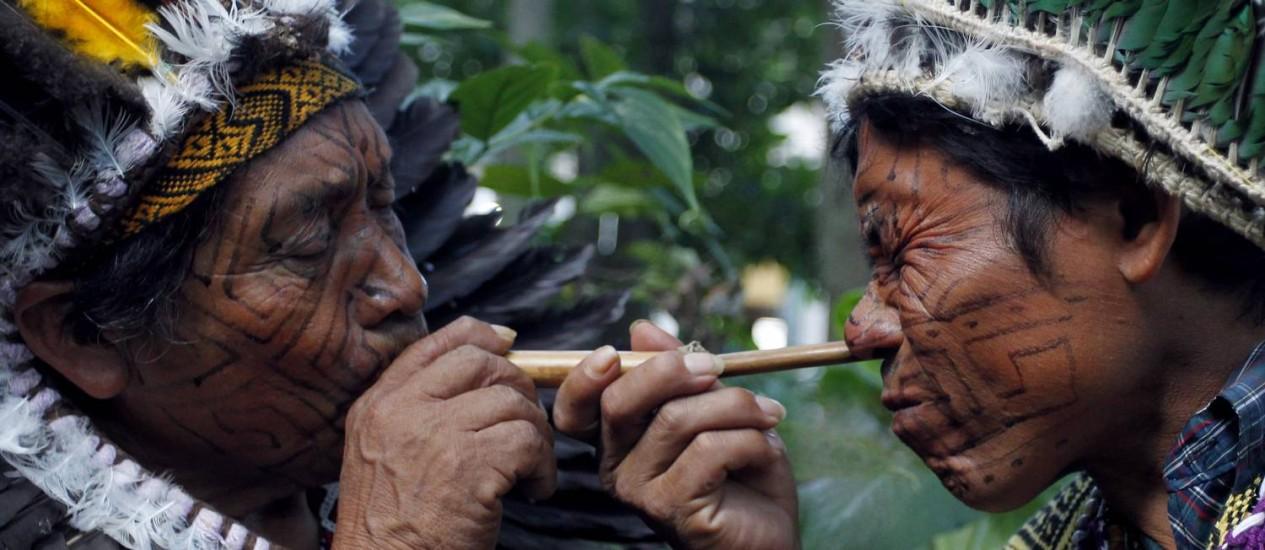 Reunidos para o lançamento do livro no Parque Lage, pajés cheiram rapé, uma mistura de tabaco com cinzas de folhas de árvores Foto: Gustavo Miranda