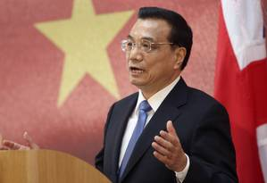 O primeiro-ministro chinês, Li Keqiang durante fórum em Londres Foto: Chris Ratcliffe / Bloomberg