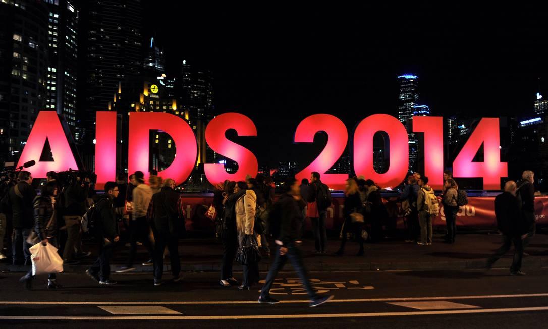 Letreiro anuncia 20ª Conferência Internacional de Aids que contaria com participação de pesquisadores que estavam em avião que caiu Foto: AFP