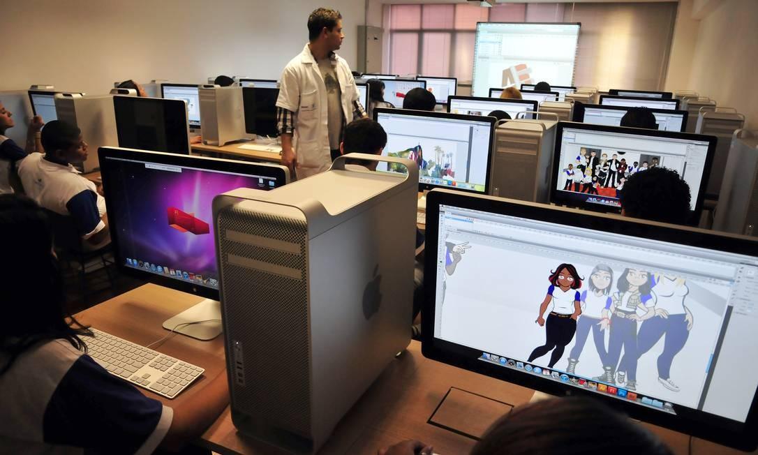 Qualificação. Alunos de curso de animação do Senai Maracanã Foto: / Divulgação