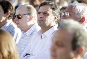 Aécio Neves fez campanha em Juazeiro do Norte (CE) neste domingo, quando foram publicadas as denúncias relativas ao aeroporto Foto: Igo Estrela / Divulgação