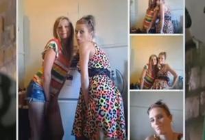 Danielle Saxton (à direita) com o vestido roubado Foto: Reprodução da web