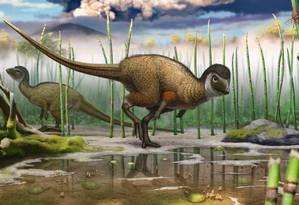 O herbívoro Kulindadromeus zabaikalicus teria sido a chave para a nova teoria Foto: Divulgação
