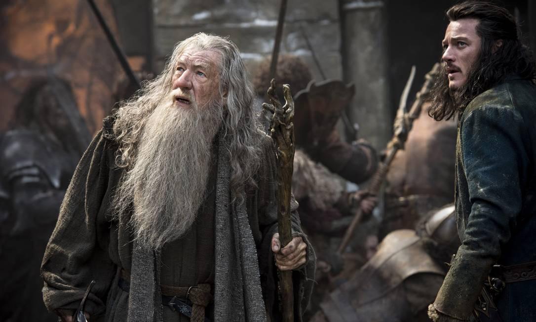 Imagem do novo 'O Hobbit' divulgada durante a Comic Con. Ian McKellen, à esquerda, não foi ao evento Foto: Mark Pokorny / AP