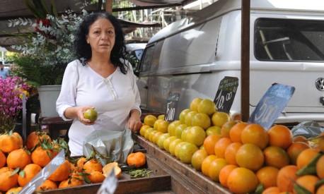 Antônia Amaral compra laranja em uma feira na Glória, no Rio: gasto semanal subiu R$ 50 Foto: Adriana Lorete