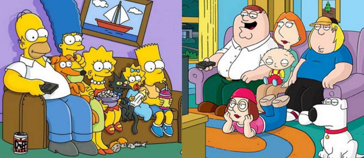 Um encontro especial marcará as telinhas em setembro: Homer Simpson, Peter Griffin e suas famílias participarão juntos de episódio Foto: Montagem/Divulgação