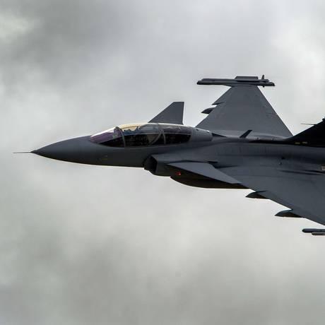 O caça Gripen, da sueca Saab: Brasil comprará 36 unidades Foto: Fabrice Coffrini / AFP