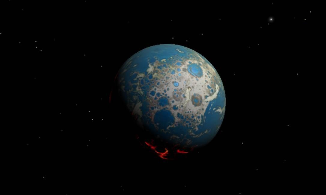 Ilustração mostra como seria a Terra há mais de 4 bilhões de anos, quando era constantemente atingida por grandes objetos vindos do espaço Foto: Simone Marchi