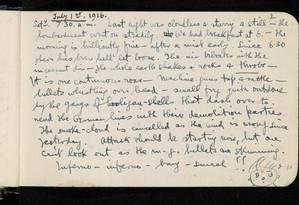 """Relato de Siegfried Sassoon de 1º de julho de 1916 descreve Batalha do Somme como """"um retrato do inferno"""" Foto: Biblioteca de Cambridge"""