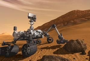 Ilustração mostra o Curiosity na superfície de Marte: projeto bem-sucedido será a base do novo veículo-robô, que deverá ser enviado ao planeta vermelho em 2020 Foto: Nasa
